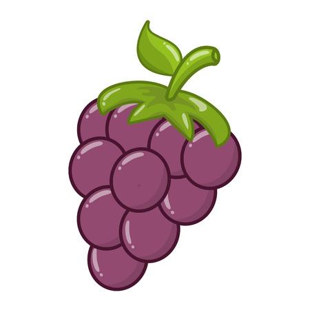 fresh fruit grapes on white background vector illustration