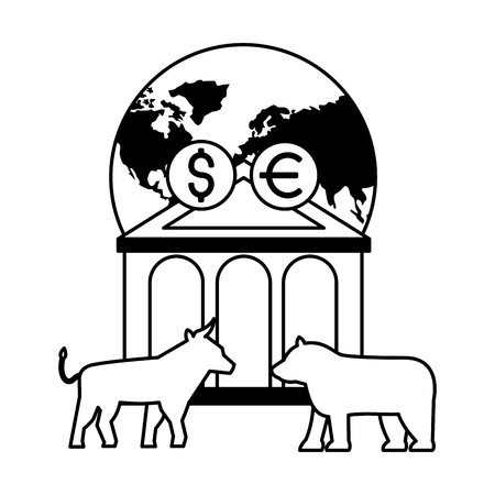 world bank bull bear dollar euro stock market vector illustration 일러스트