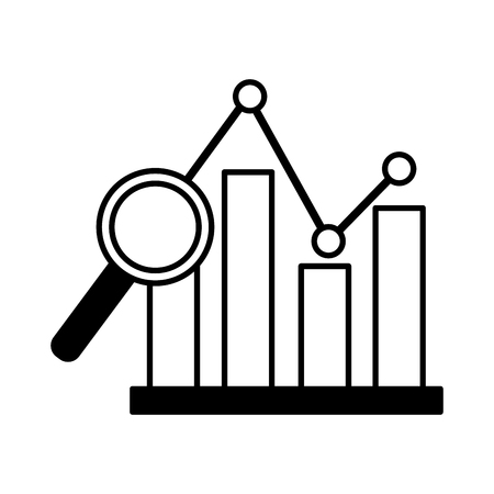 chart magnifying glass stock market vector illustration Stock Illustratie