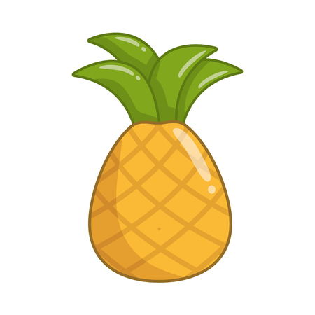 fresh fruit pineapple on white background vector illustration Ilustração