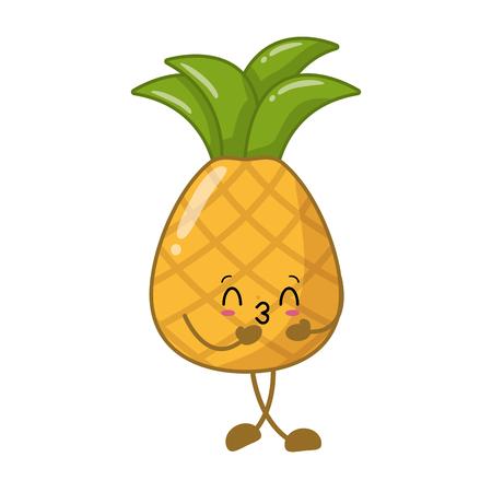 pineapple cartoon character on white background vector illustration