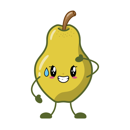 pear cartoon character on white background vector illustration