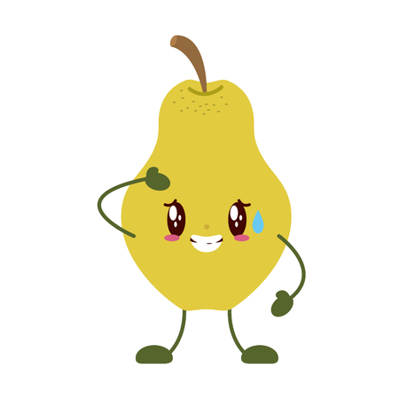 kawaii pear cartoon character on white background vector illustration