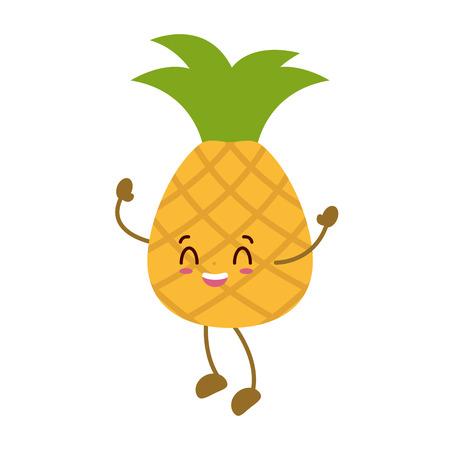 kawaii pineapple cartoon character on white background vector illustration