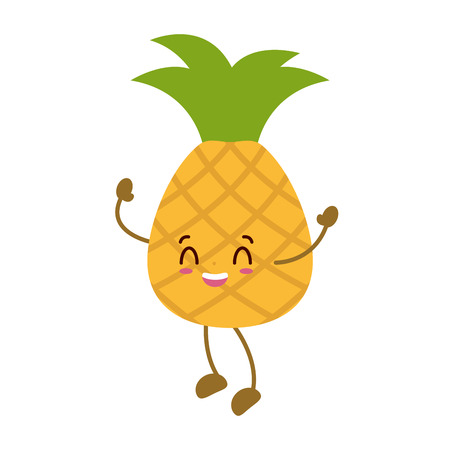 kawaii pineapple cartoon character on white background vector illustration