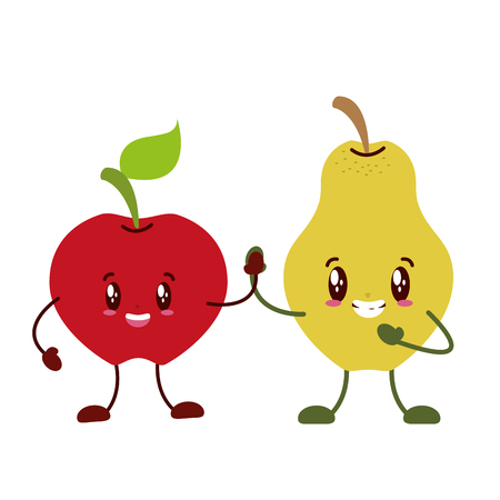 kawaii apple pear character on white background vector illustration