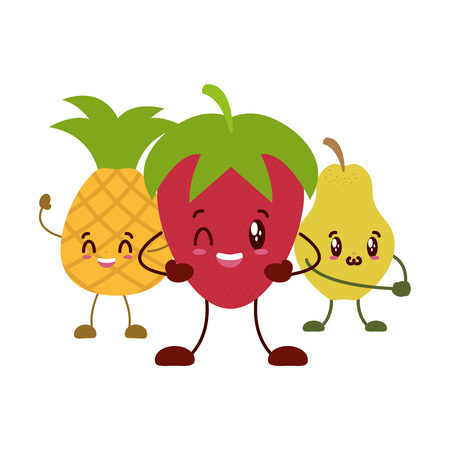 kawaii pineapple strawberry pear cartoon character vector illustration vector illustration Illustration