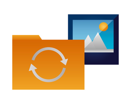 folder file picture data reload vector illustration