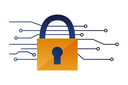 security padlock protection circuit data vector illustration  イラスト・ベクター素材