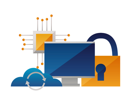 cloud computing monitor processor security vector illustration
