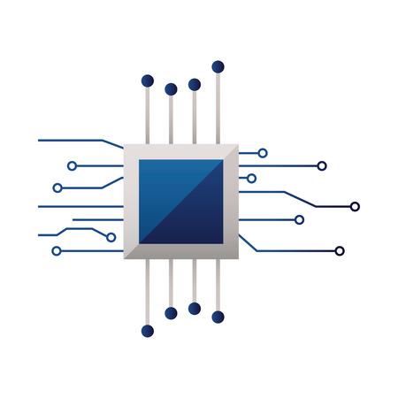 Carte mère processeur circuit numérique fond blanc vector illustration Vecteurs