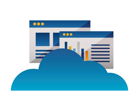 cloud computing storage website report vector illustration