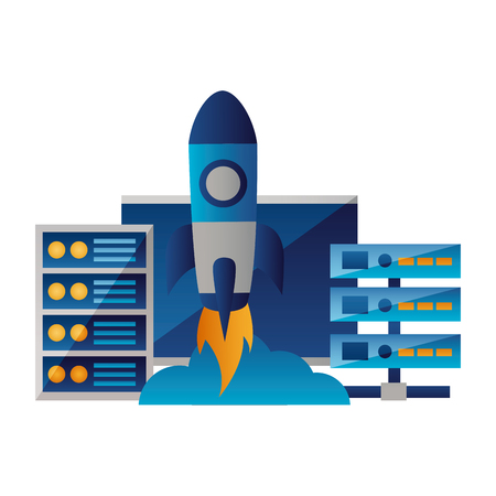 computer database center cpu startup vector illustration