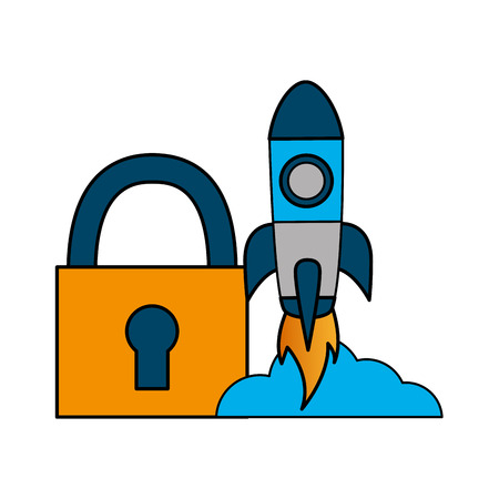 security rocket launching startup white background vector illustration 向量圖像