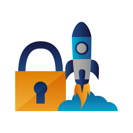 security rocket launching startup white background vector illustration Çizim