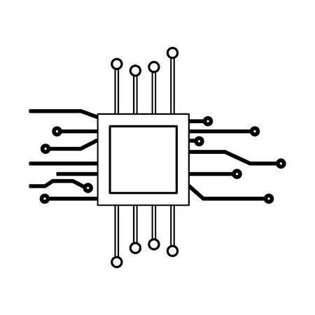 motherboard processor digital circuit white background vector illustration