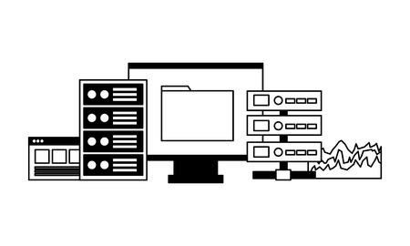 computer file database cpu report vector illustration