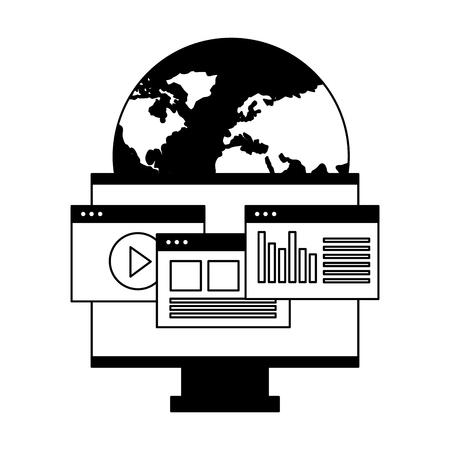 world computer monitor website digital vector illustration
