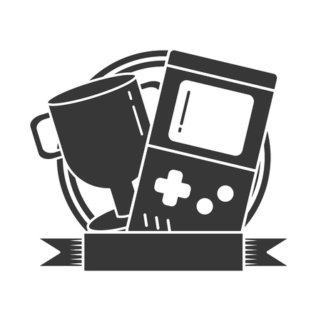 trophy and portable console video game vector illustration Illustration