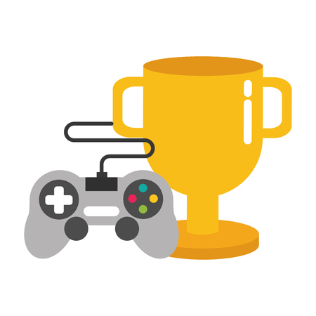 trophy control device video game vector illustration