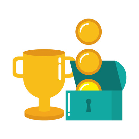 treasure chest coins trophy video game vector illustration Illustration