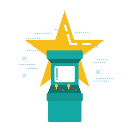 arcade machine star video game vector illustration