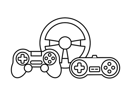 steering wheel controls devices video game vector illustration Illustration