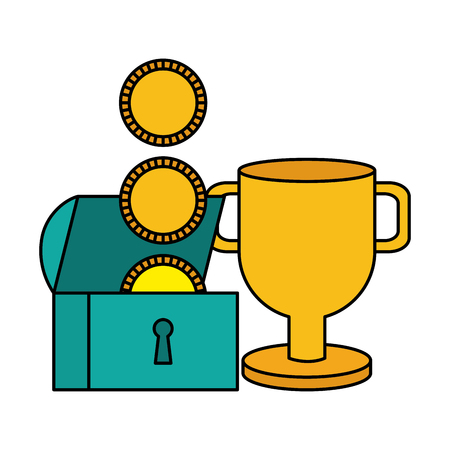 treasure chest coins trophy video game vector illustration 일러스트