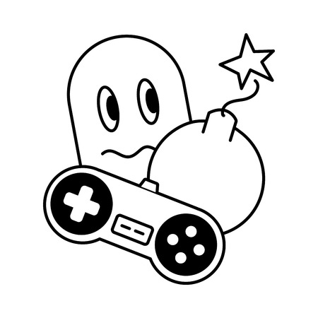 ghost control boom  video game vector illustration Фото со стока - 117113394