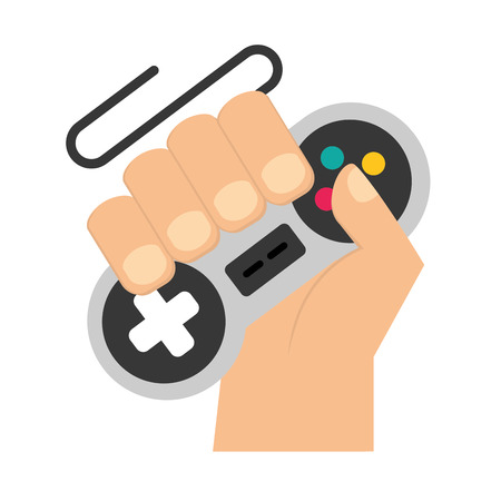 hand with controller video game vector illustration Çizim