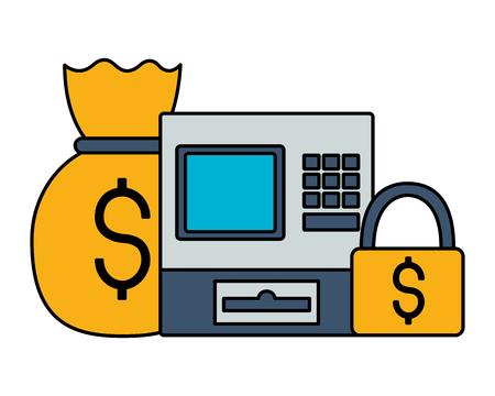 cash register money bag security stock market vector illustration
