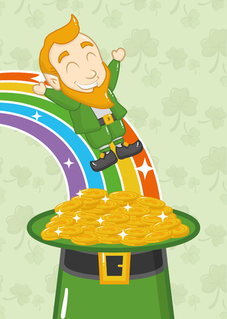 falling leprechaun rainbow hat coins st patricks day vector illustration