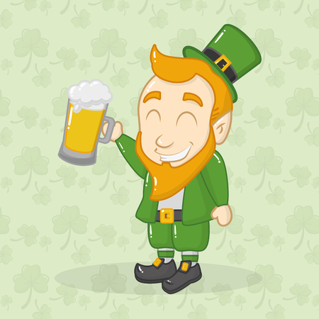 leprechaun holding beer happy st patricks day vector illustration