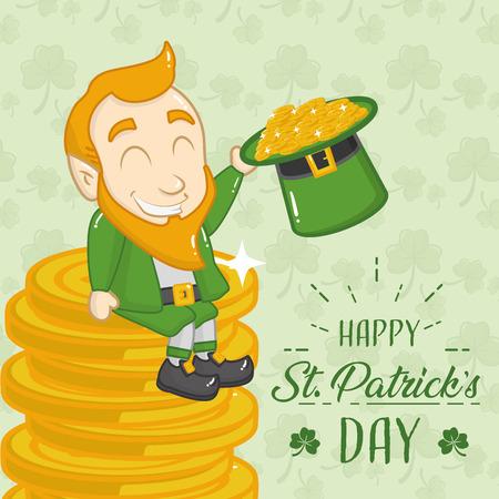 leprechaun sitiing coin with hat happy st patricks day vector illustration Stock Illustratie