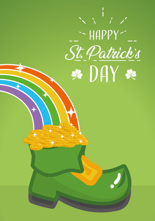 boot rainbow coins happy st patricks day vector illustration
