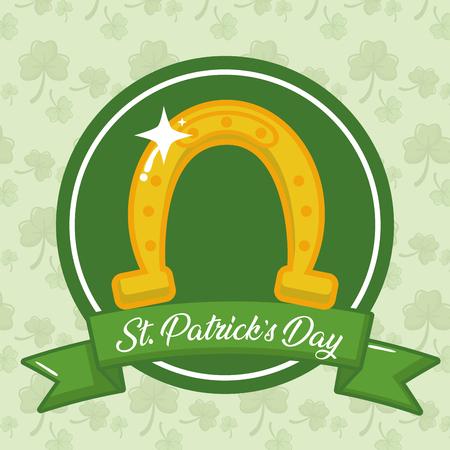 horseshoe lucky ribbon happy st patricks day vector illustration 向量圖像