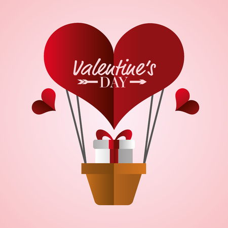 air balloon gift happy valentines day vector illustration