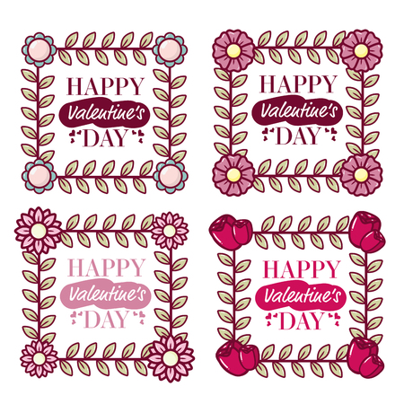 set frame flowers happy valentines day vector illustration