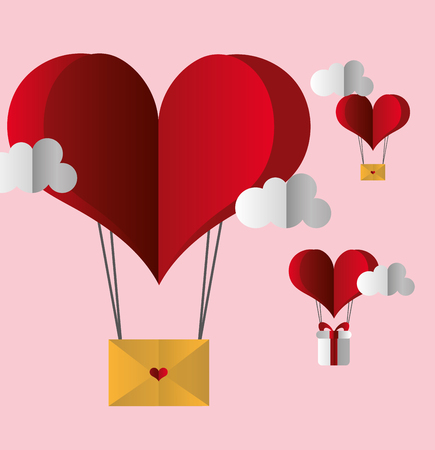 air balloon heart mail gift happy valentines day vector illustration