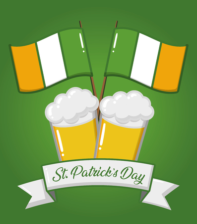 st patricks day beers ireland flags vector illustration