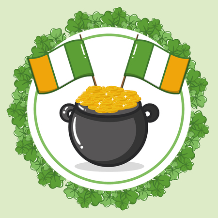 cauldron coins ireland flags happy st patricks day vector illustration