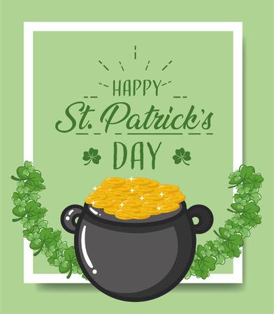 cauldron coins happy st patricks day vector illustration 일러스트