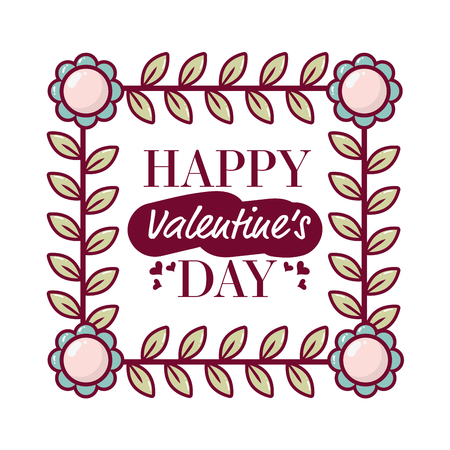 delicate wreath flowers frame happy valentines day vector illustration