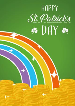 coins rainbow fantasy happy st patricks day vector illustration