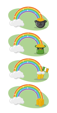 rainbows hat pot beers coins collection happy st patricks day