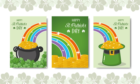 cauldron coins rainbow hat banners happy st patricks day vector illustration