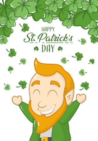 leprechaun clovers falling happy st patricks day vector illustration