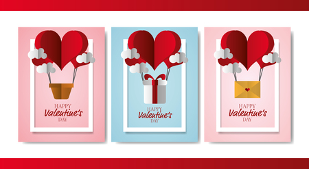 air balloons gift mail clouds banner happy valentines day vector illustration Stock Illustratie