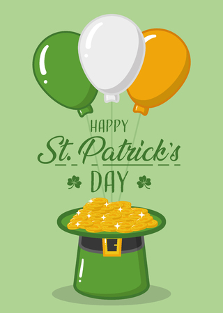 happy st patricks day balloons hat coins celebrate vector illustration