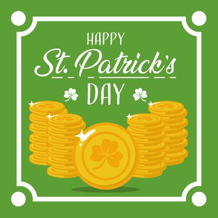 happy st patricks day decoration frame coins vector illustration Illustration